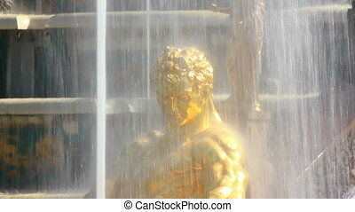 close-up view on famous petergof Samson fountain in St....