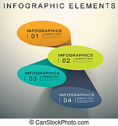 abstract 3d Elliptical cylinder infographics - vector...