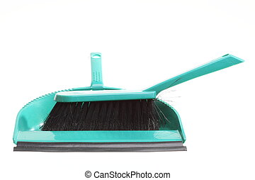 Green sweeping brush and dustpan isolated - housework -...