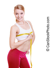 Fitness girl sporty woman measuring her bust size isolated -...