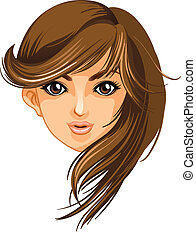 A pretty face of a woman - Illustration of a pretty face of...