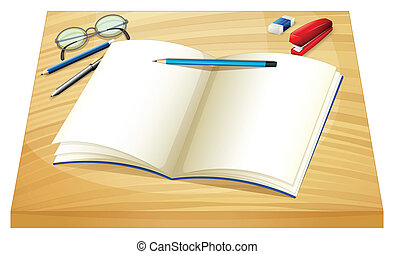 An empty notebook above the wooden table