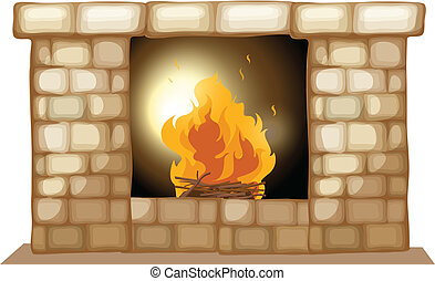 A fireplace - Illustration of a fireplace on a white...