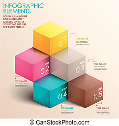 abstract 3d staircase infographics - realistic vector...