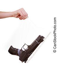 evidencia, asideros, arma de fuego, marcado, mano, bolsa,...
