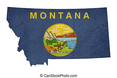 Grunge state of Montana flag map isolated on a white...