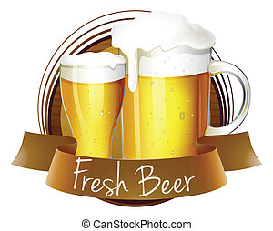 A fresh beer label with a pitcher and a glass of beer -...