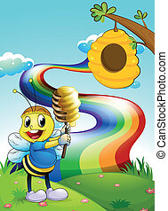 A bee at the hilltop with a rainbow in the sky -...