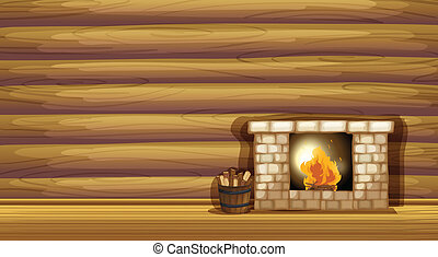 A fireplace near the wooden wall - Illustration of a...