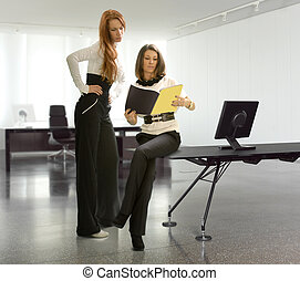 two business women in the office have discussing matter of...