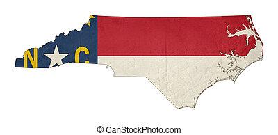 Grunge state of North Carolina flag map