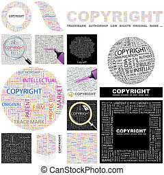 Copyright. Concept illustration. - Copyright. Word cloud...