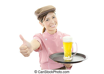 Waitress carrying beer - Working young waitress