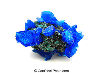blue vitriol mineral isolated on the white background