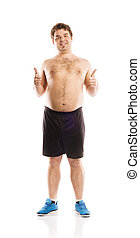 Fat fitness man is posing in studio on white background