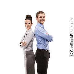 Business woman and business man - Young smiling business...