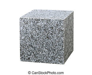 granite cube isolated on white background