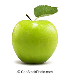 green apple with clipping path