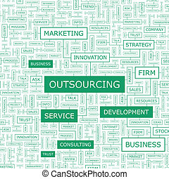 OUTSOURCING. Word cloud illustration. Tag cloud concept...
