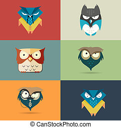 Set cute stylized cartoon icons of owls - Vector set of...