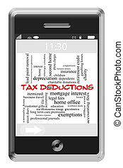 Tax Deductions Word Cloud Concept on Touchscreen Phone - Tax...