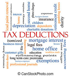 Tax Deductions Word Cloud Concept with great terms such as...