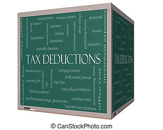 Tax Deductions Word Cloud Concept on a 3D cube Blackboard...