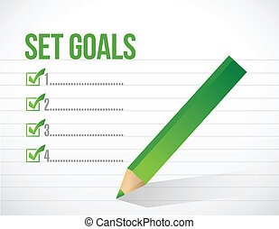 set goals check mark illustration design over a white...