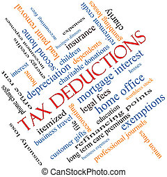 Tax Deductions Word Cloud Concept angled with great terms...