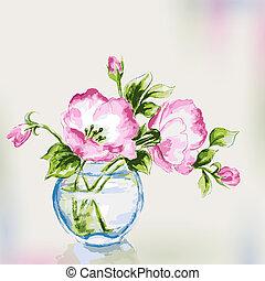 primavera, acquarello, fiori, vaso