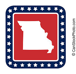 Missouri state button state button on American flag in flat...