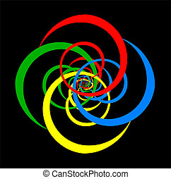 Basic Colors Whirl - Psychedelic spiral of basic colors...