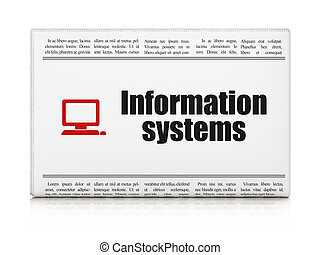 Information concept: newspaper with Information Systems and...