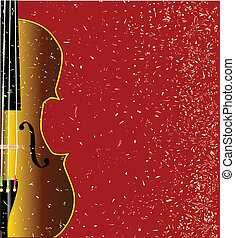 Grunge Violin - A typical violin close up over a red grunge...