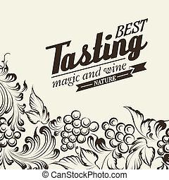Grapes design for wine menu. Vector illustration.