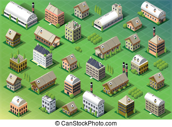 Set of Isometric Building in Spring - Detailed illustration...