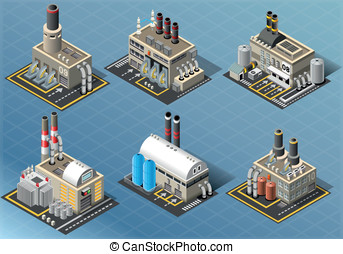 Isometric Set of Energy Industries Buildings - Detailed...