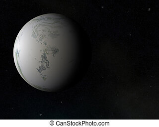 one side of frozen winter earth planet. cosmos sky...