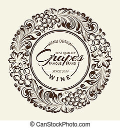 Vintage radial ornament over sepia. Vector illustration.