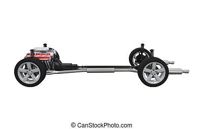 Car Chassis isolated on white background. 3D render
