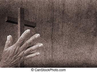 Praying hands with cross - Praying hands and christian cross
