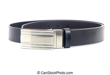 Black leather belt isolated on white