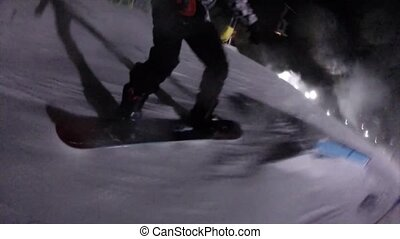 Snowboarding in night