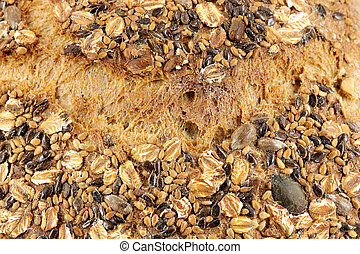 bread with seeds detail food background
