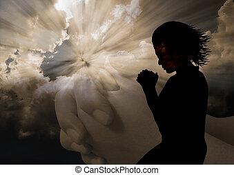 mulher, orando, silueta