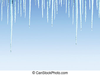 Seamless border with icicles on blue sky