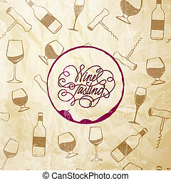 Red wine drops over text paper background - Red wine drops...