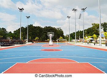 Outdoor basketball Stadium with blue sky