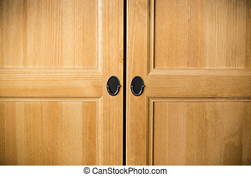 Plain brown wooden doors