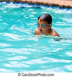 niño, Practicar, piscina, Estilo pecho